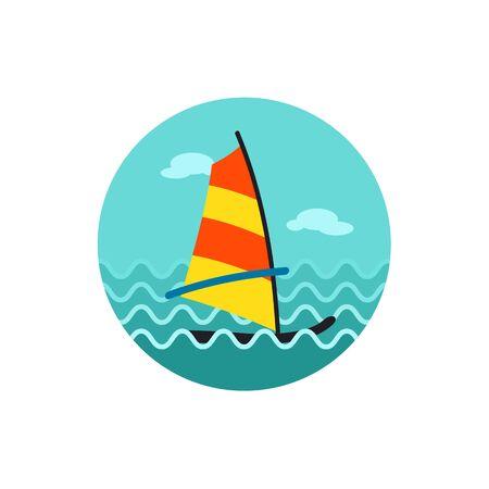 windsurfing: Tabla de windsurf icono de vector. Vectores