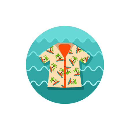 Hawaiian Shirt with palm tree vector icon.