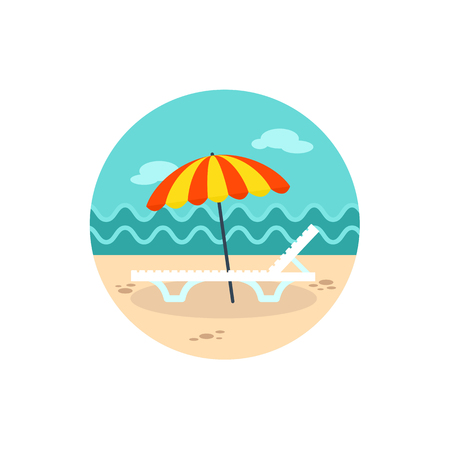 chaise lounge: Beach chaise lounge with umbrella vector icon.