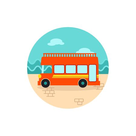 decker: Double decker open top sightseeing and city bus vector icon. Summer. Summertime. Holiday. Vacation, eps 10