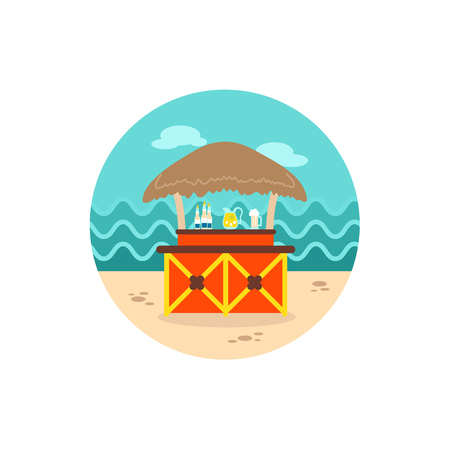 bungalows: Cafe Bar bungalows on the beach vector icon.