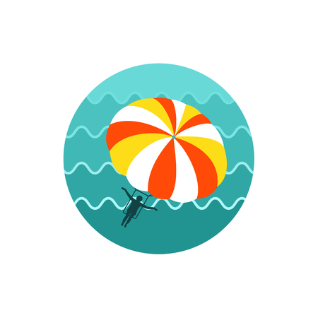 kiting: Parasailing. Summer kiting activity vector icon. Illustration