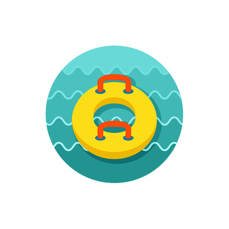 float tube: Towable Water Tube Inflatble Boat Floating Raft vector icon.