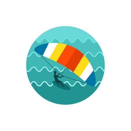 kite surfing: Kite boarding. Kite surfing vector icon. Illustration