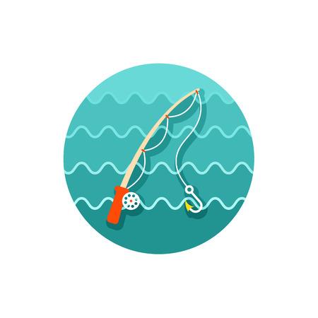 angling rod: Fishing Rod vector icon. Illustration