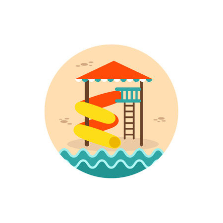 water park: Water Park Summer Vacation. Slide Beach vector icon.