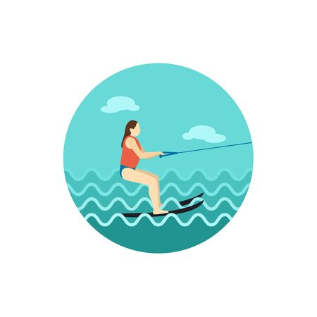 Water skiing vector icon.