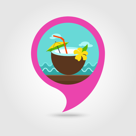 coconut drink: Coconut Drink with Straw vector pin map icon. Beach Map pointer. Summer Map markers.