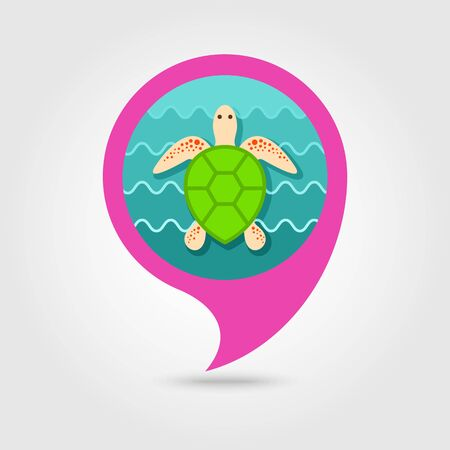 Sea Turtle Vector Pin Map Icon Beach Map Pointer Summer Map