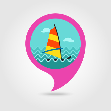 Board Windsurfing vector pin map icon. Beach Map pointer. Summer Map markers.