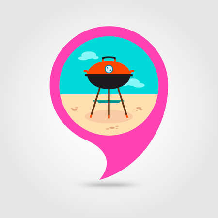 Barbecue grill vector pin map icon. Map pointer. Summer Map markers. Summertime. Vacation, eps 10 Illustration