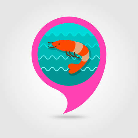 prawn: Shrimp pin map icon. Prawn vector. Beach Map pointer. Summer Map markers.