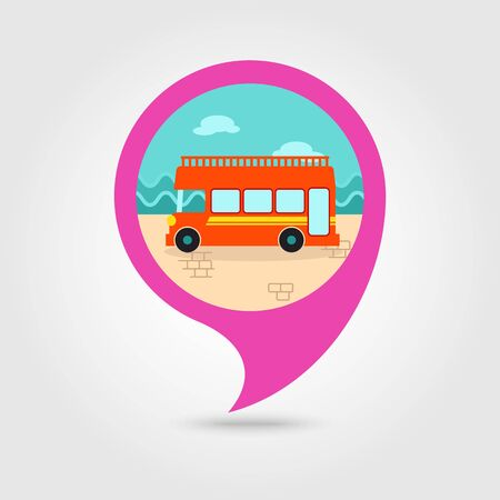 decker: Double decker open top sightseeing and city bus vector pin map icon. Map pointer. Summer Map markers. Illustration