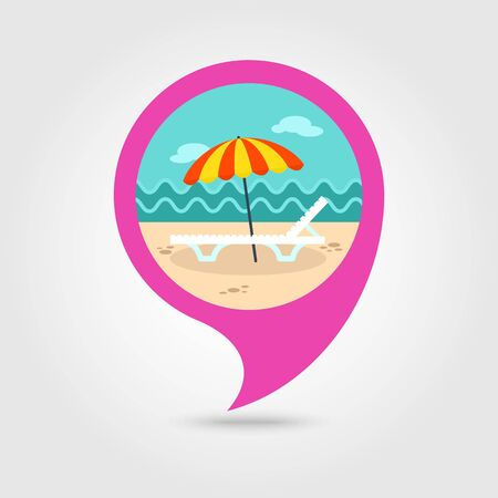 chaise lounge: Beach chaise lounge with umbrella vector pin map icon. Map pointer. Summer Map markers. Illustration