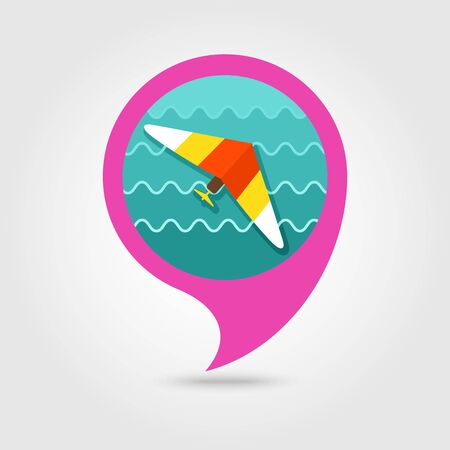 glider: Hang Glider vector pin map icon. Travel Map pointer. Summer Map markers. Illustration