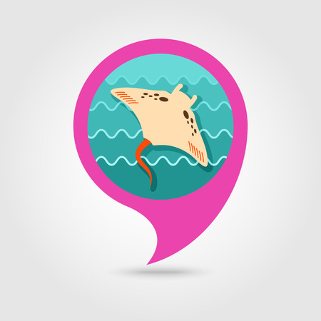 Ramp fish vector pin map icon. Beach Map pointer. Summer Map markers.