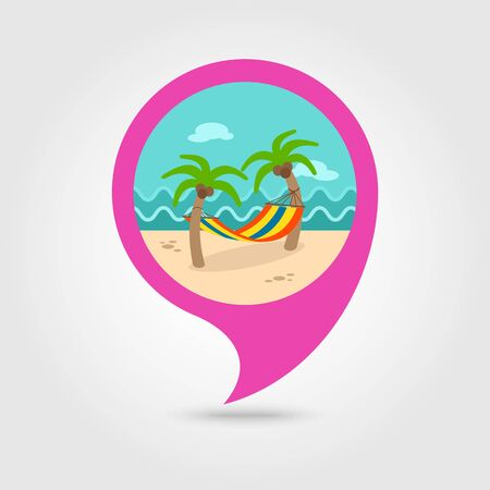 tree position: Hammock with palm trees on beach vector pin map icon. Beach Map pointer. Illustration