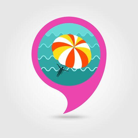 Parasailing. Summer kiting activity vector pin map icon. Beach Map pointer. Summer Map markers.