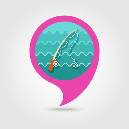 anglers: Fishing Rod vector icon. pin map icon. Beach Map pointer. Summer Map markers.
