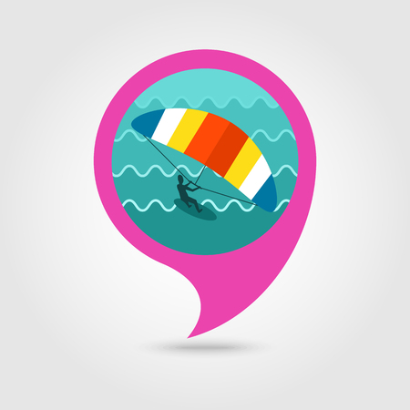 kiter: Kite boarding. Kite surfing vector pin map icon. Beach Map pointer. Summer Map markers.