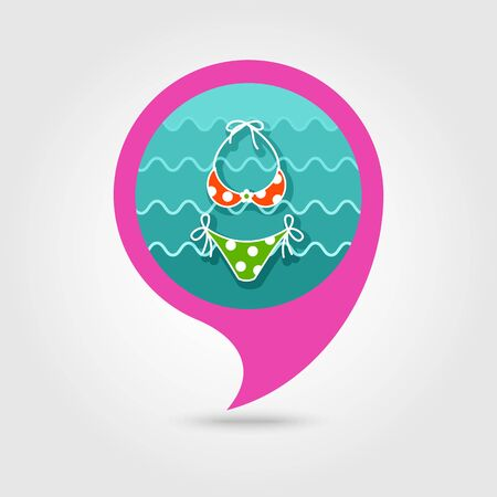 Swimsuit vector pin map icon. Beach Map pointer. Summer Map markers.
