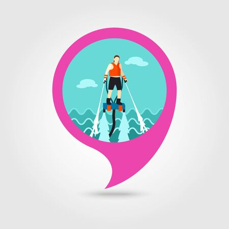 jetpack: FlyBoard FlySurf vector pin map icon. Beach Map pointer. Summer Map markers. Illustration