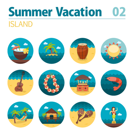shrimp cocktail: Island beach vector icon set. Summer time. Vacation, eps 10