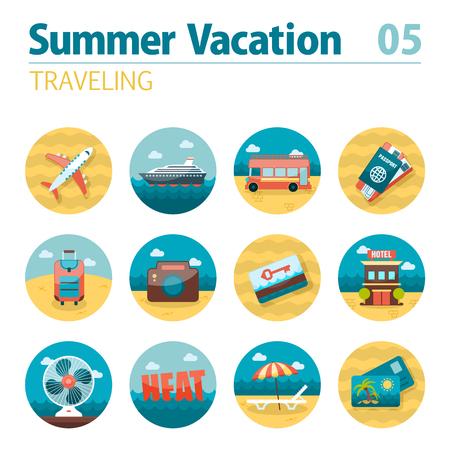 keycard: Traveling vector icon set. Illustration
