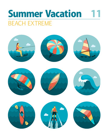 Extreme Water Sport beach vector icon set. Vektorové ilustrace