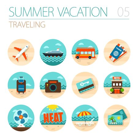 keycard: Traveling vector icon set. Summer time. Vacation, eps 10