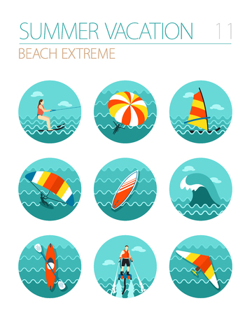 water sport: Extreme Water Sport beach vector icon set.