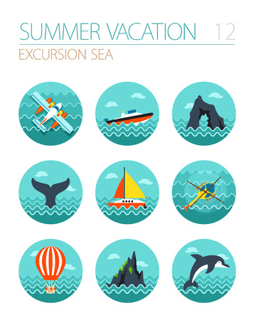 excursion: Excursion sea vector icon set.