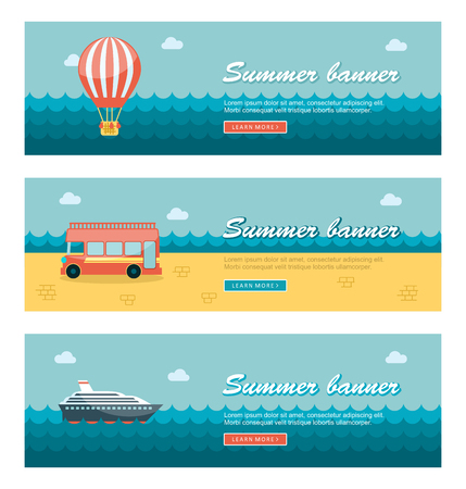 hot tour: Travel and vacation vector banners.