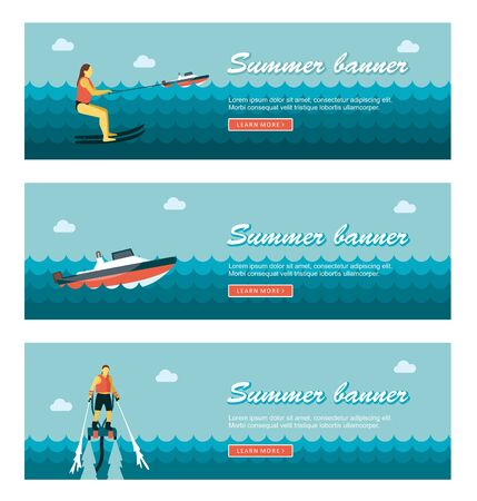 jetpack: Travel and vacation vector banners.