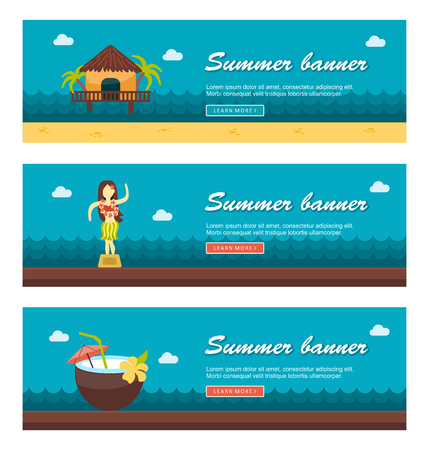 shack: Travel and vacation vector banners.