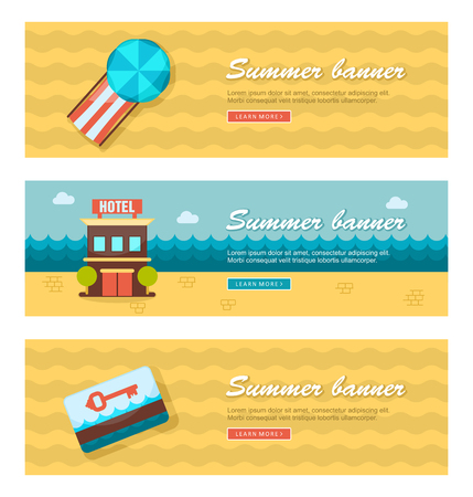 keycard: Travel and vacation vector banners.