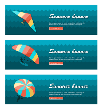 kite surfing: Travel and vacation vector banners.