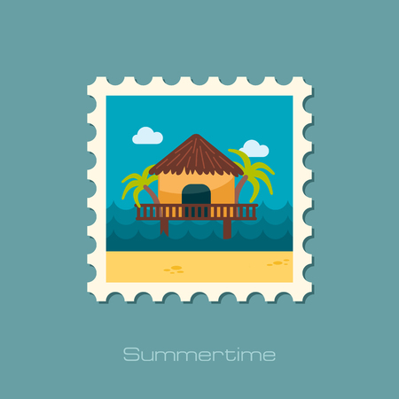 maldives island: Bungalow with palm trees vector stamp.