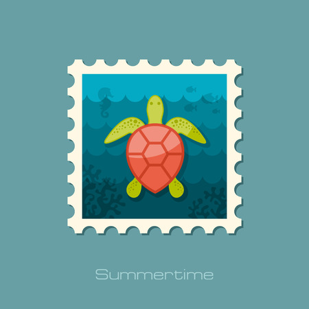 amphibia: Sea turtle vector stamp.