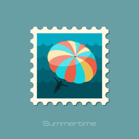 kiting: Parasailing. Summer kiting activity vector stamp. Illustration