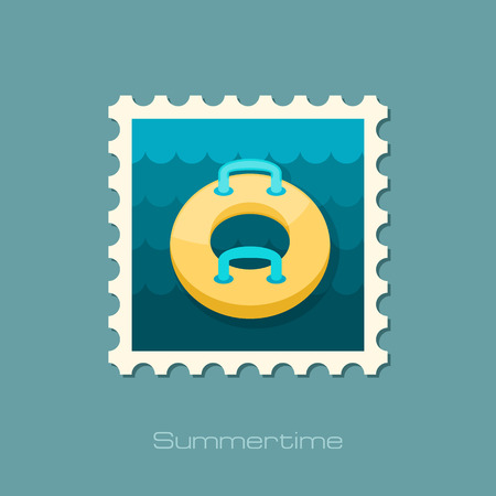 floating in water: Towable Water Tube Inflatble Boat Floating Raft vector stamp. Beach. Summer. Summertime. Holiday. Vacation, ride, water sport, eps 10 Illustration