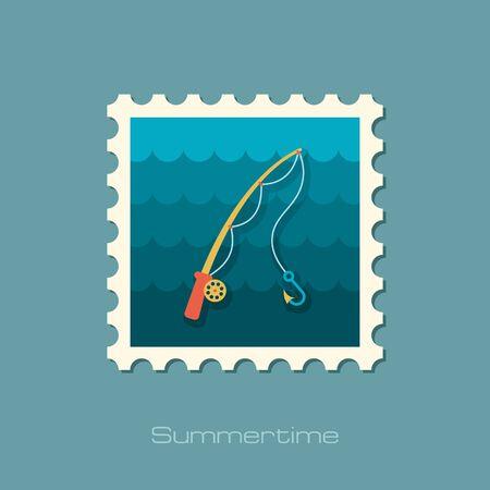 fishing rod: Fishing Rod vector stamp.