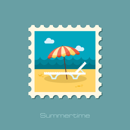 chaise lounge: Beach chaise lounge with umbrella vector stamp. Illustration
