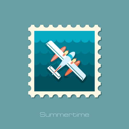 hydroplane: Hydroplane vector stamp. Travel. Illustration