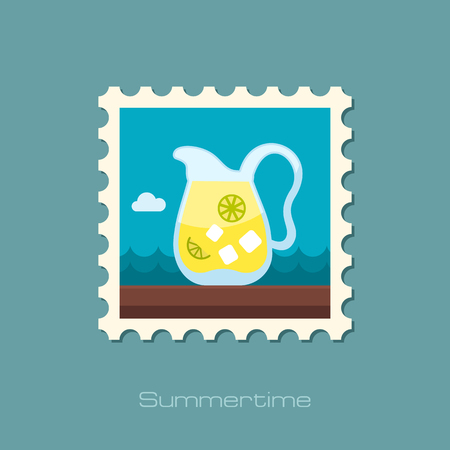 postmark: Jug of lemonade with slices of citrus and ice vector stamp.