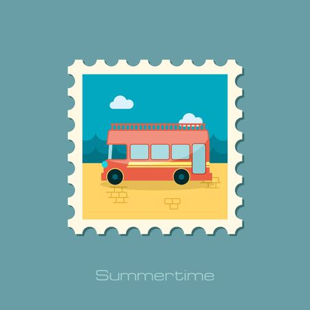 decker: Double decker open top sightseeing and city bus vector stamp. Illustration