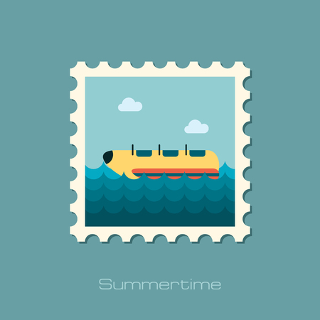 go for: Yellow banana boat vector stamp.