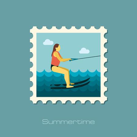 water skiing: Water skiing vector stamp.