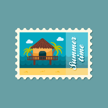 maldives island: Bungalow with palm trees vector stamp. Beach. Summer. Summertime. Holiday. Vacation, eps