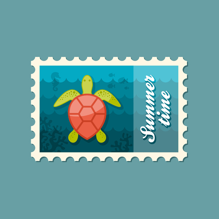 amphibia: Sea turtle vector stamp. Beach. Summer. Summertime. Holiday. Vacation,